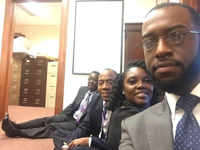 NAACP's Simelton, Brooks and Crawford occupy the mobile office of Jeff Sessions in Mobile, Alabama