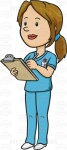 White Female In Blue Scrubs Taking Notes On A Chart
