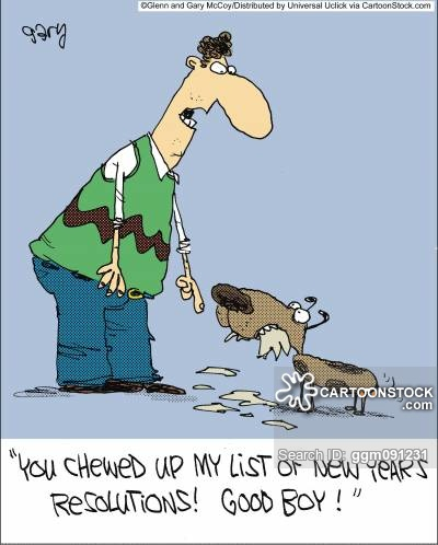 'You chewed up my list of new years resolutions! Good boy!'
