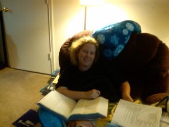 Chris studying