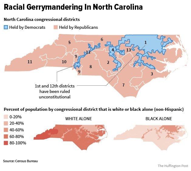 north carolina gerrymandered map