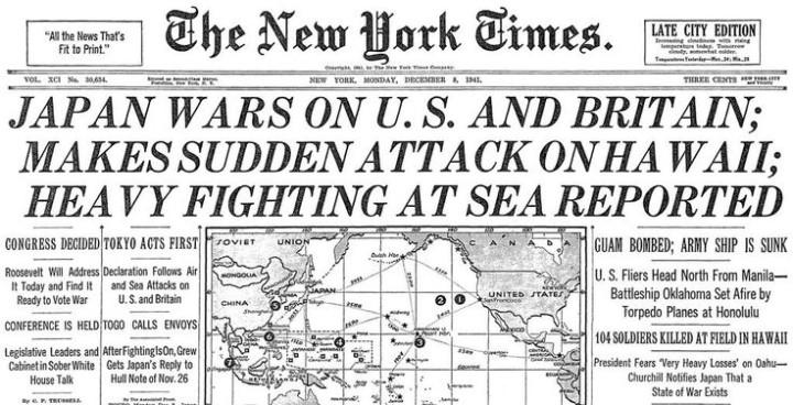 Pearl Harbour headlines