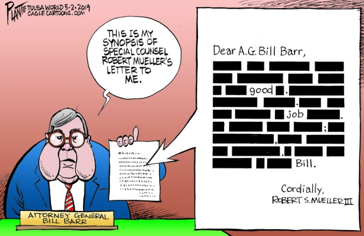 Bruce Plante Cartoon: Mueller's letter to Barr