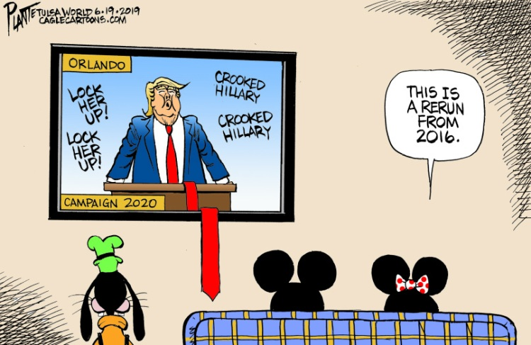 Bruce Plante Cartoon: Trump launches 2020 Campaign