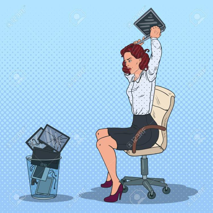 Pop Art Stressed Business Woman Throwing Laptop to the Trash Bin